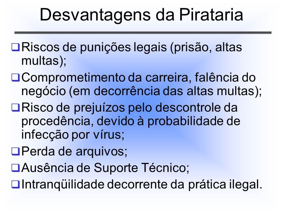 Riscos de punições legais (prisão, altas multas); Comprometimento da carreira, falência do negócio (em decorrência das altas multas); Risco de prejuíz