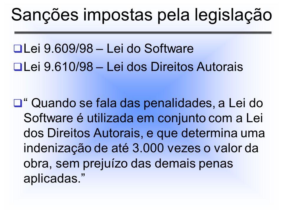Lei 9.609/98 – Lei do Software Lei 9.610/98 – Lei dos Direitos Autorais Quando se fala das penalidades, a Lei do Software é utilizada em conjunto com