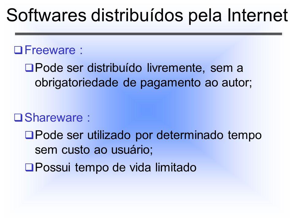 Freeware : Pode ser distribuído livremente, sem a obrigatoriedade de pagamento ao autor; Shareware : Pode ser utilizado por determinado tempo sem cust