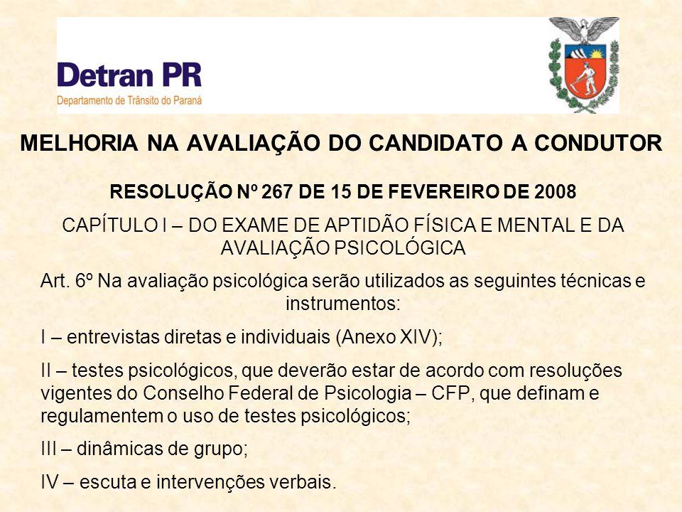 MELHORIA NA AVALIAÇÃO DO CANDIDATO A CONDUTOR RESOLUÇÃO Nº 267 DE 15 DE FEVEREIRO DE 2008 CAPÍTULO II – DOS RESULTADOS DOS EXAMES Art.