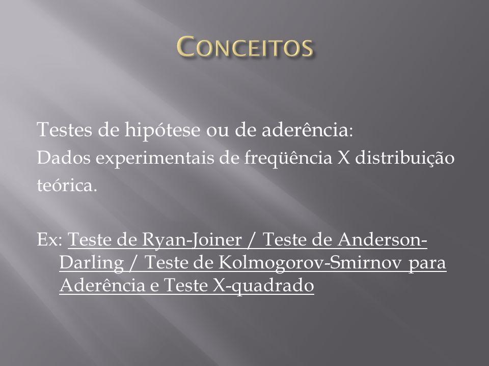 Testes de hipótese ou de aderência : Dados experimentais de freqüência X distribuição teórica.