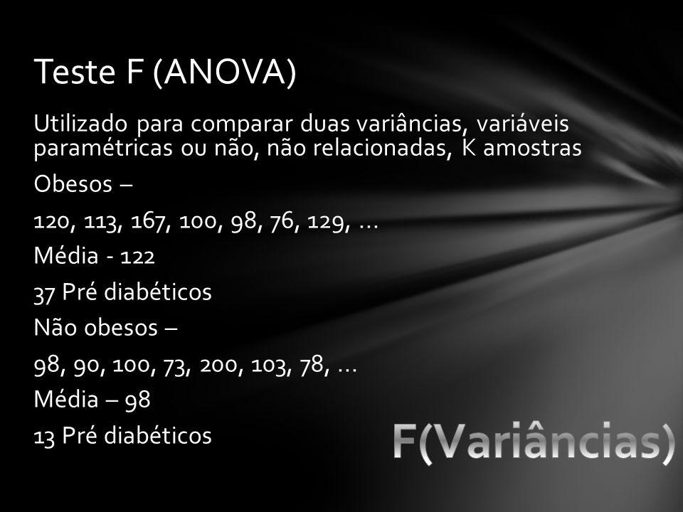 Utilizado para comparar duas variâncias, variáveis paramétricas ou não, não relacionadas, K amostras Obesos – 120, 113, 167, 100, 98, 76, 129,... Médi
