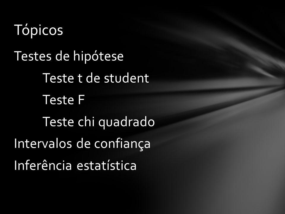 Testes de hipótese Teste t de student Teste F Teste chi quadrado Intervalos de confiança Inferência estatística Tópicos