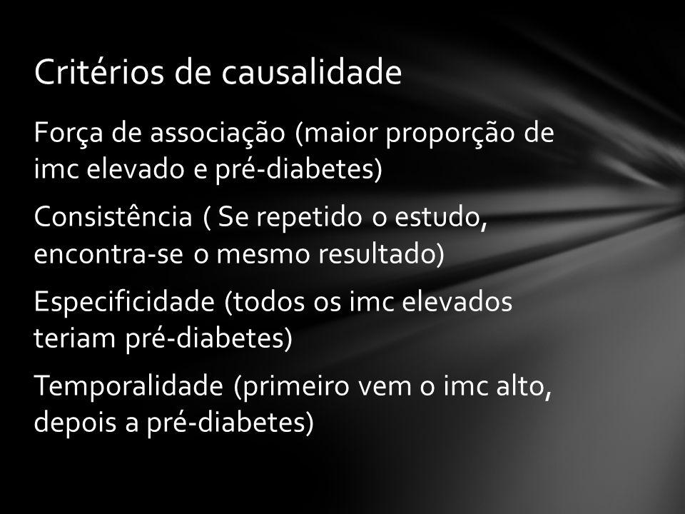 Força de associação (maior proporção de imc elevado e pré-diabetes) Consistência ( Se repetido o estudo, encontra-se o mesmo resultado) Especificidade