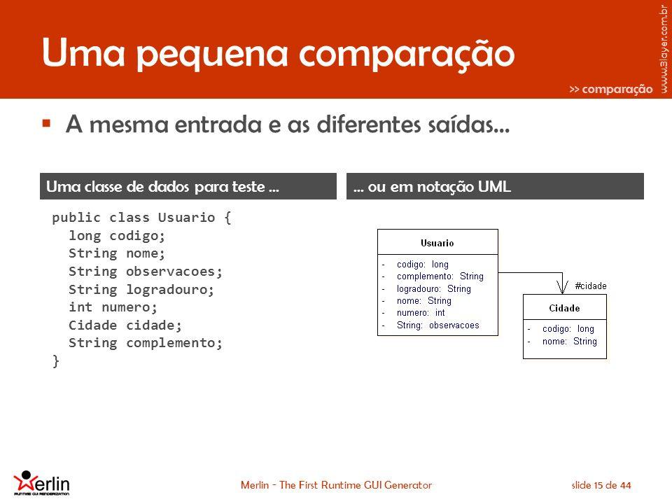 www.3layer.com.br Merlin - The First Runtime GUI Generatorslide 15 de 44 Uma pequena comparação A mesma entrada e as diferentes saídas...