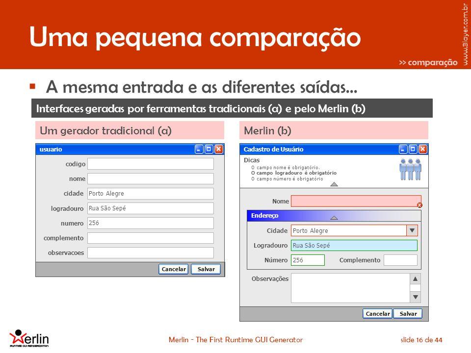 www.3layer.com.br Merlin - The First Runtime GUI Generatorslide 16 de 44 Uma pequena comparação A mesma entrada e as diferentes saídas...