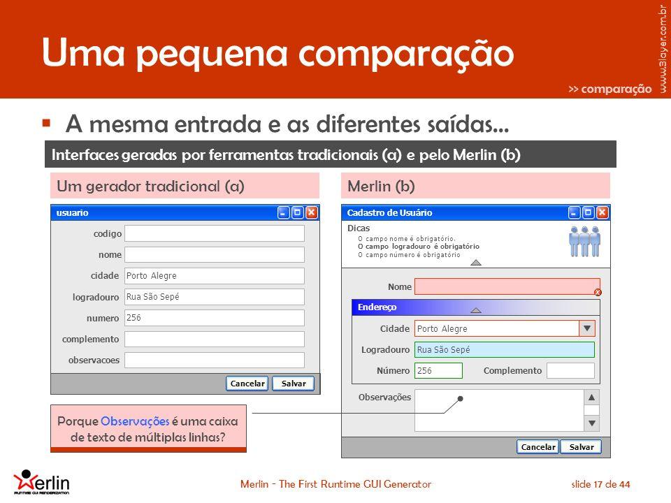www.3layer.com.br Merlin - The First Runtime GUI Generatorslide 17 de 44 Uma pequena comparação A mesma entrada e as diferentes saídas...