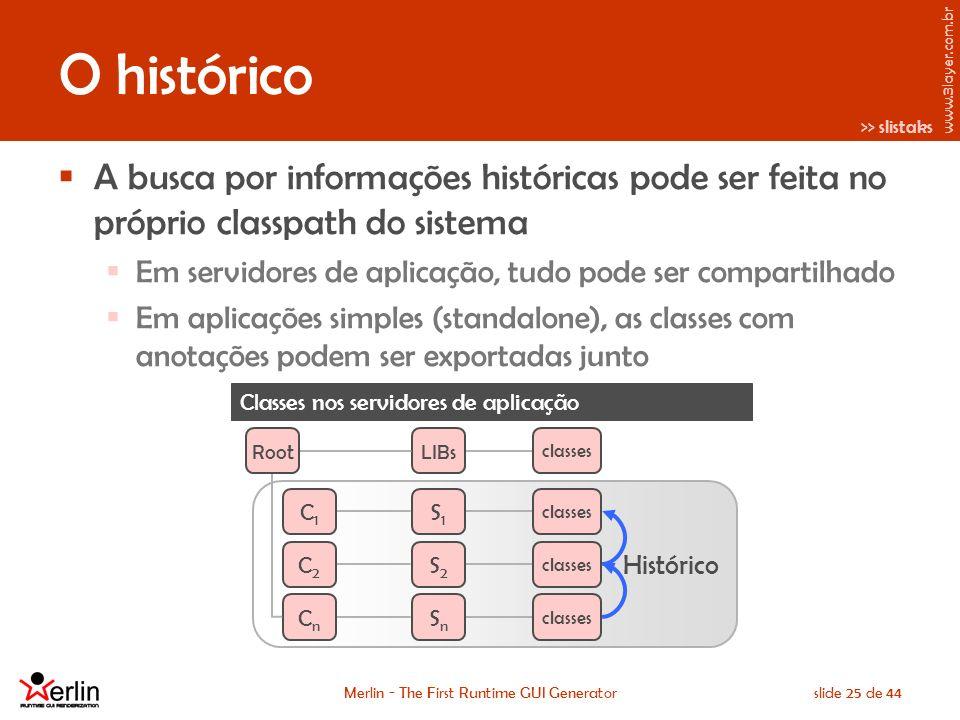 www.3layer.com.br Merlin - The First Runtime GUI Generatorslide 25 de 44 O histórico A busca por informações históricas pode ser feita no próprio classpath do sistema Em servidores de aplicação, tudo pode ser compartilhado Em aplicações simples (standalone), as classes com anotações podem ser exportadas junto Classes nos servidores de aplicação >> slistaks RootLIBs Histórico classes S1S1 S2S2 SnSn C1C1 C2C2 CnCn
