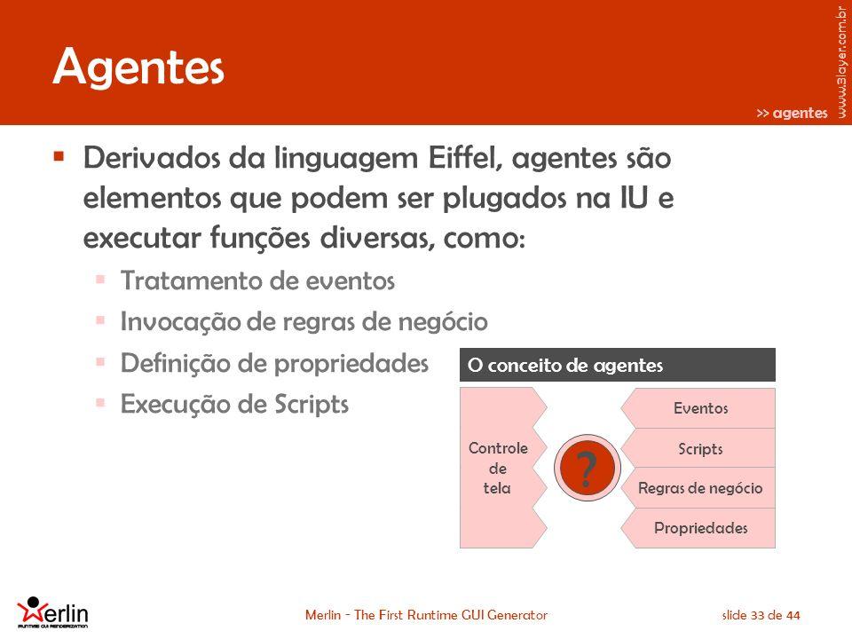 www.3layer.com.br Merlin - The First Runtime GUI Generatorslide 33 de 44 Agentes Derivados da linguagem Eiffel, agentes são elementos que podem ser plugados na IU e executar funções diversas, como: Tratamento de eventos Invocação de regras de negócio Definição de propriedades Execução de Scripts O conceito de agentes Eventos Scripts Regras de negócio Propriedades Controle de tela >> agentes