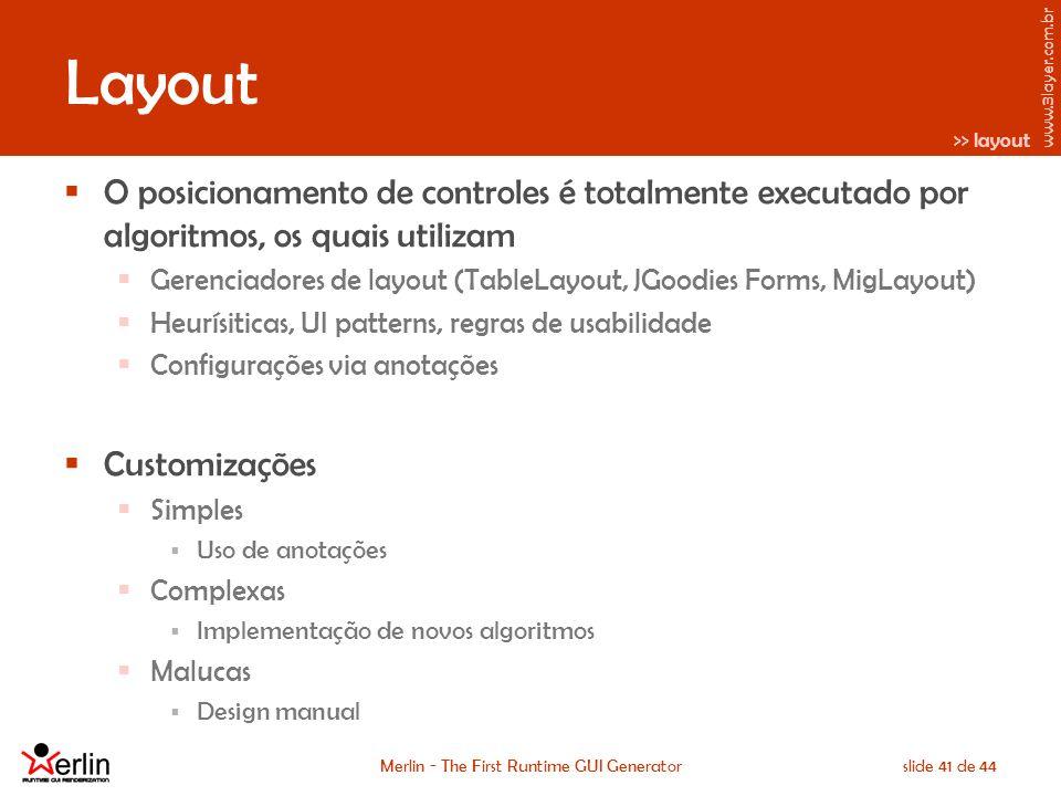 www.3layer.com.br Merlin - The First Runtime GUI Generatorslide 41 de 44 Layout O posicionamento de controles é totalmente executado por algoritmos, os quais utilizam Gerenciadores de layout (TableLayout, JGoodies Forms, MigLayout) Heurísiticas, UI patterns, regras de usabilidade Configurações via anotações Customizações Simples Uso de anotações Complexas Implementação de novos algoritmos Malucas Design manual >> layout