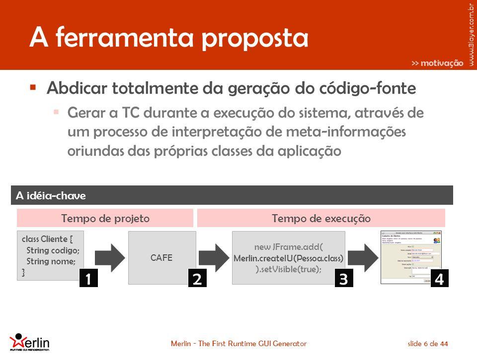 www.3layer.com.br Merlin - The First Runtime GUI Generatorslide 6 de 44 A ferramenta proposta Abdicar totalmente da geração do código-fonte Gerar a TC durante a execução do sistema, através de um processo de interpretação de meta-informações oriundas das próprias classes da aplicação A idéia-chave CAFE class Cliente { String codigo; String nome; } new JFrame.add( Merlin.createIU(Pessoa.class) ).setVisible(true); >> motivação 123 Tempo de projetoTempo de execução 4