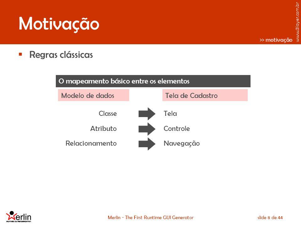 www.3layer.com.br Merlin - The First Runtime GUI Generatorslide 19 de 44 Uma pequena comparação A mesma entrada e as diferentes saídas...