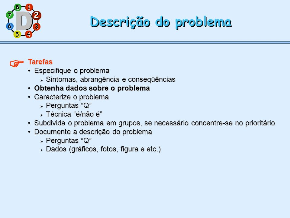 1 7 5 3 286 4 Descrição do problema Tarefas Especifique o problemaEspecifique o problema Sintomas, abrangência e conseqüências Sintomas, abrangência e