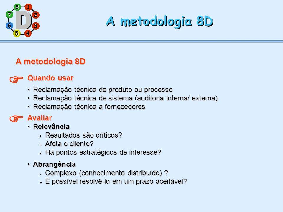 1 7 5 3 286 4 A metodologia 8D Quando usar Reclamação técnica de produto ou processoReclamação técnica de produto ou processo Reclamação técnica de si