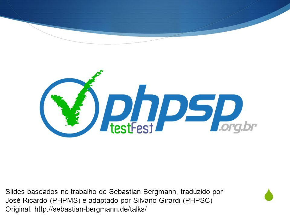 Apoio: Objetivos Aumentar a abrangência do código do interpretador de PHP (com testes) Motivar usuários a participar, (re|con)tribuir com o PHP Unir e motivar membros do grupo de usuário Qualificar o participante com uma nova ferramenta Atividade Global Em 2009: Países de todo mundorealizaram TestFests PHPSP: Grupo com maior número de testes em todo mundo Próximas oportunidades PHPSP: Setembro (Encerramento)