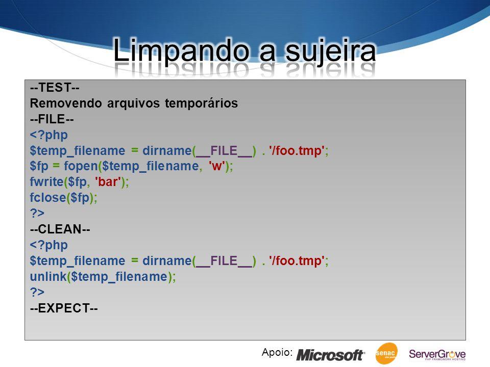 Apoio: --TEST-- Removendo arquivos temporários --FILE-- <?php $temp_filename = dirname(__FILE__).