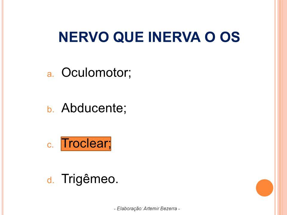 NERVO QUE INERVA O OS a.Oculomotor; b. Abducente; c.
