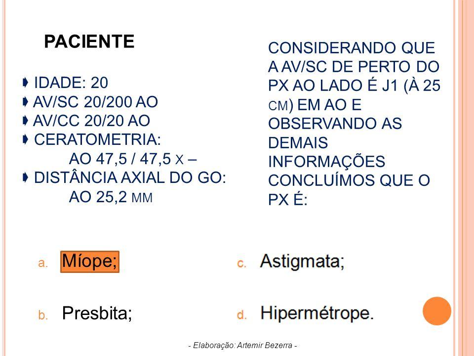 IDADE: 20 AV/SC 20/200 AO AV/CC 20/20 AO CERATOMETRIA: AO 47,5 / 47,5 X – DISTÂNCIA AXIAL DO GO: AO 25,2 MM a.