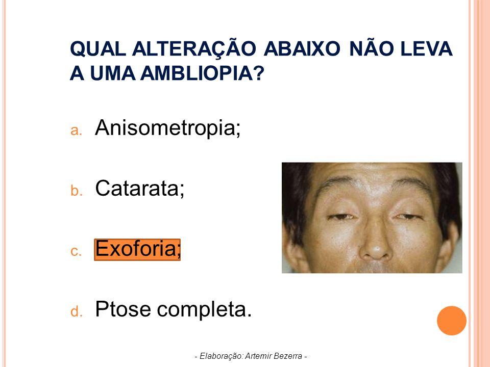 QUAL ALTERAÇÃO ABAIXO NÃO LEVA A UMA AMBLIOPIA.a.