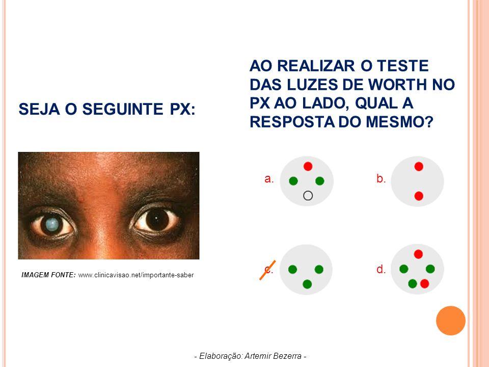 SEJA O SEGUINTE PX: AO REALIZAR O TESTE DAS LUZES DE WORTH NO PX AO LADO, QUAL A RESPOSTA DO MESMO.