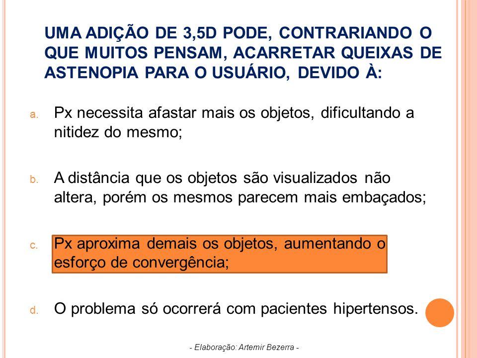 UMA ADIÇÃO DE 3,5D PODE, CONTRARIANDO O QUE MUITOS PENSAM, ACARRETAR QUEIXAS DE ASTENOPIA PARA O USUÁRIO, DEVIDO À: a.