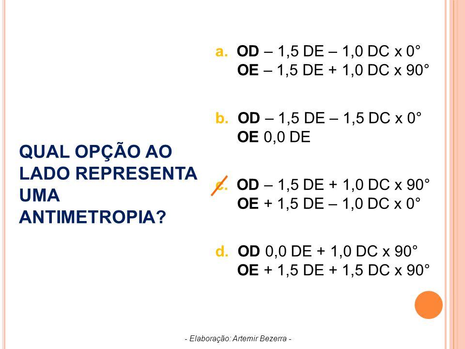 a.OD – 1,5 DE – 1,0 DC x 0° OE – 1,5 DE + 1,0 DC x 90° b.