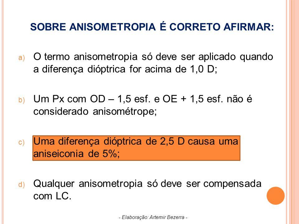 SOBRE ANISOMETROPIA É CORRETO AFIRMAR: a) O termo anisometropia só deve ser aplicado quando a diferença dióptrica for acima de 1,0 D; b) Um Px com OD – 1,5 esf.