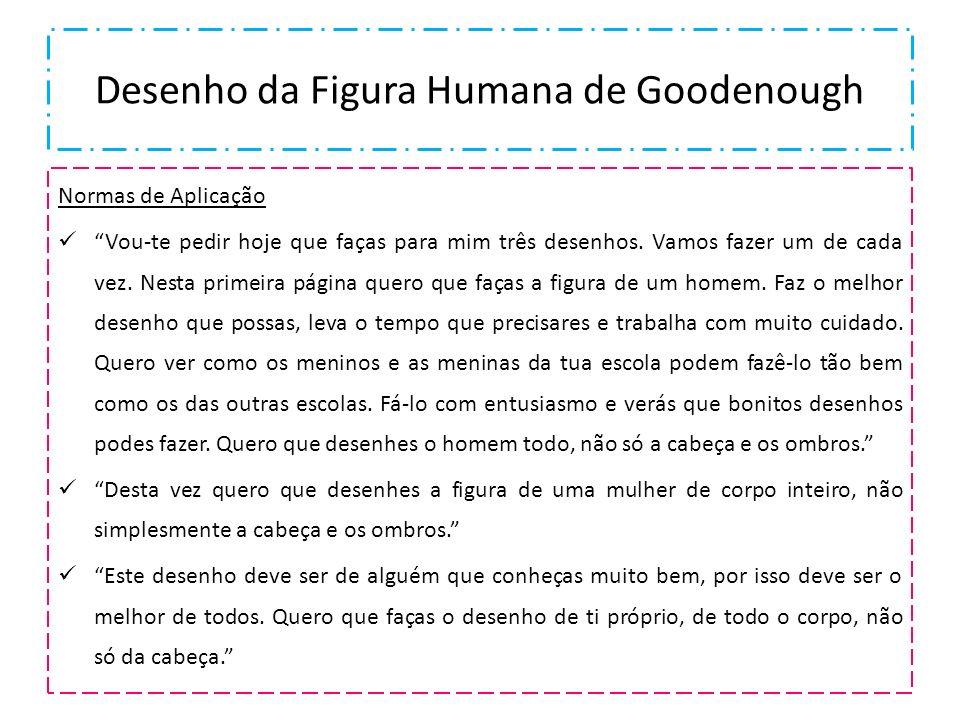 Desenho da Figura Humana de Goodenough Normas de Aplicação Vou-te pedir hoje que faças para mim três desenhos. Vamos fazer um de cada vez. Nesta prime