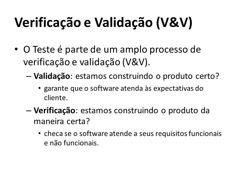 Verificação e Validação (V&V) O Teste é parte de um amplo processo de verificação e validação (V&V). – Validação: estamos construindo o produto certo?