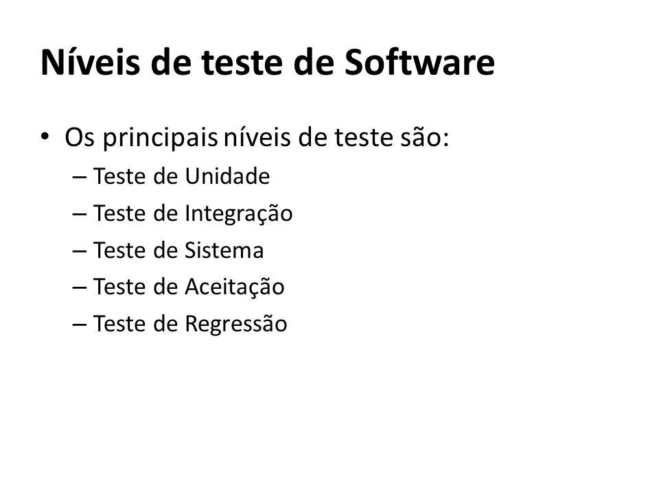 Os principais níveis de teste são: – Teste de Unidade – Teste de Integração – Teste de Sistema – Teste de Aceitação – Teste de Regressão Níveis de tes