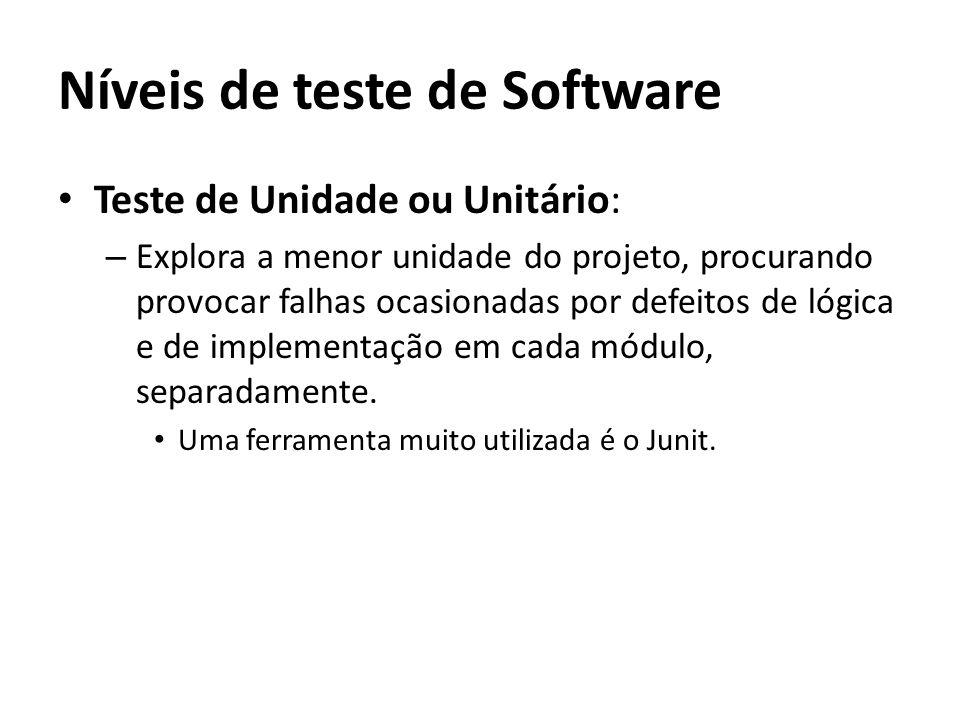 Teste de Unidade ou Unitário: – Explora a menor unidade do projeto, procurando provocar falhas ocasionadas por defeitos de lógica e de implementação e