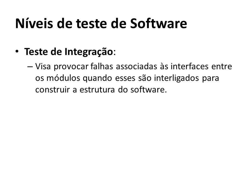 Teste de Integração: – Visa provocar falhas associadas às interfaces entre os módulos quando esses são interligados para construir a estrutura do soft