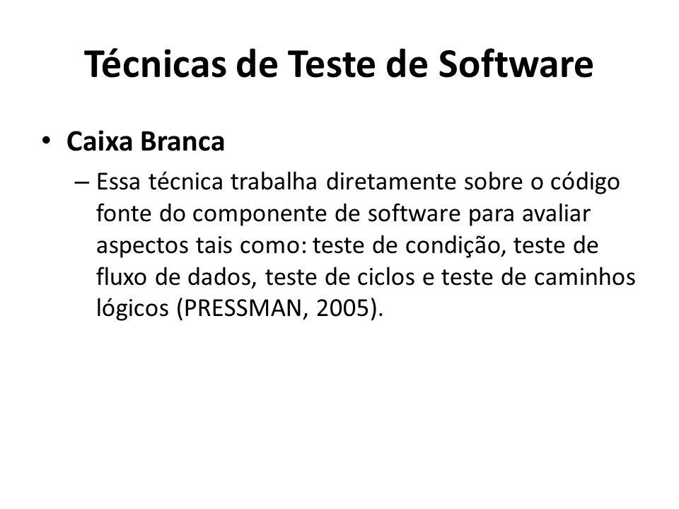 Caixa Branca – Essa técnica trabalha diretamente sobre o código fonte do componente de software para avaliar aspectos tais como: teste de condição, te