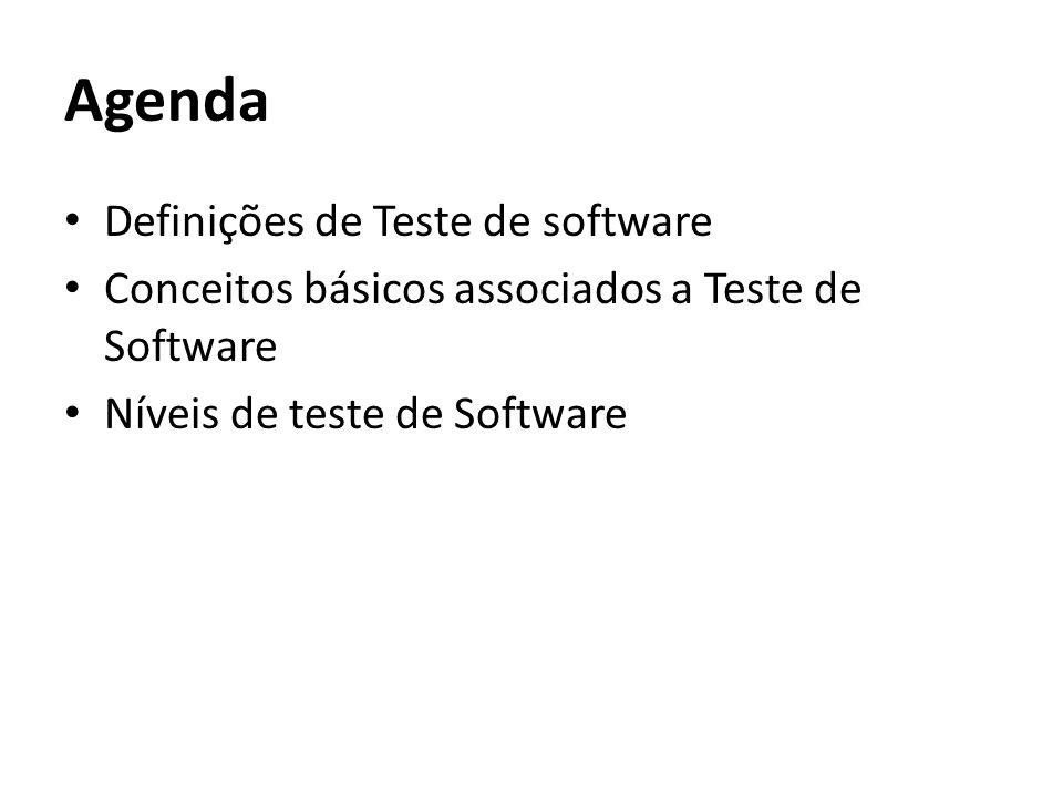 Agenda Definições de Teste de software Conceitos básicos associados a Teste de Software Níveis de teste de Software