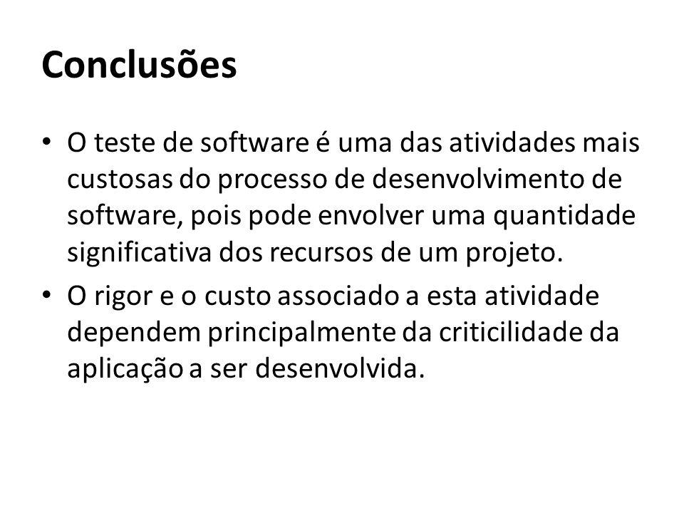 Conclusões O teste de software é uma das atividades mais custosas do processo de desenvolvimento de software, pois pode envolver uma quantidade signif