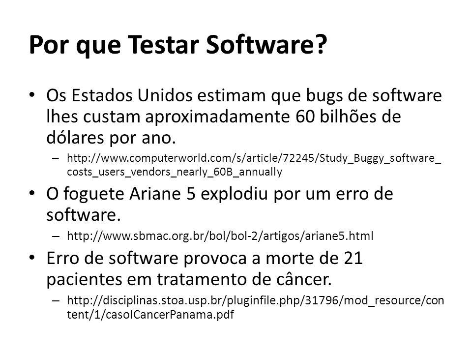 Por que Testar Software? Os Estados Unidos estimam que bugs de software lhes custam aproximadamente 60 bilhões de dólares por ano. – http://www.comput