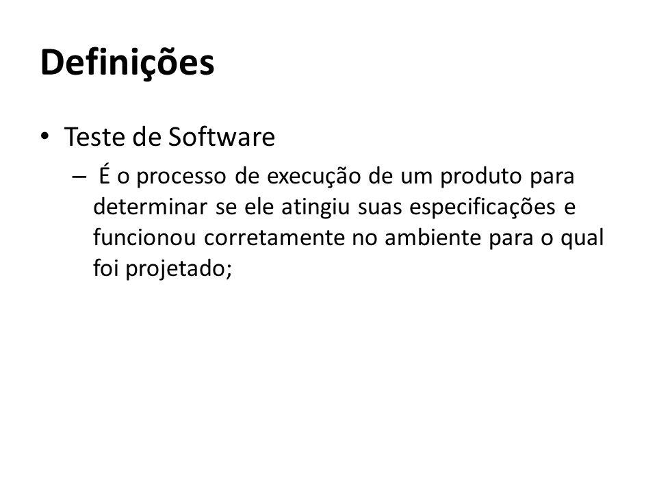 Definições Teste de Software – É o processo de execução de um produto para determinar se ele atingiu suas especificações e funcionou corretamente no a