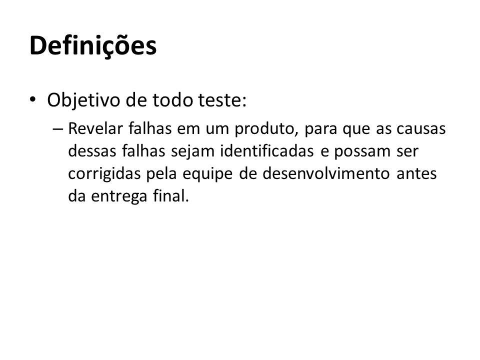Objetivo de todo teste: – Revelar falhas em um produto, para que as causas dessas falhas sejam identificadas e possam ser corrigidas pela equipe de de