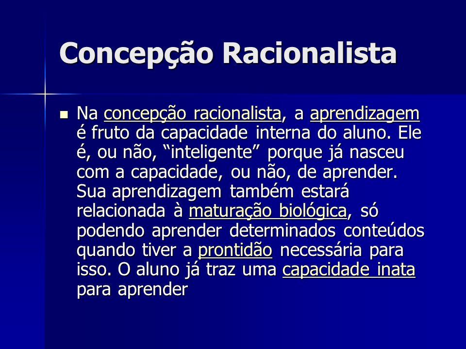 Concepção Racionalista Na concepção racionalista, a aprendizagem é fruto da capacidade interna do aluno. Ele é, ou não, inteligente porque já nasceu c