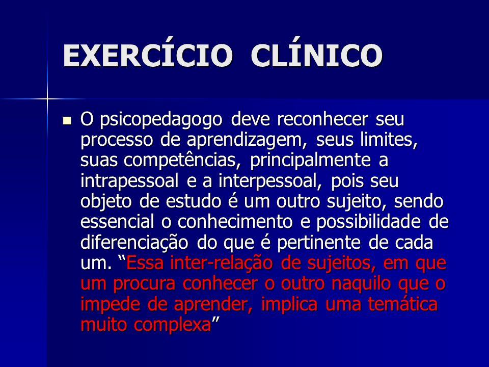 EXERCÍCIO CLÍNICO O psicopedagogo deve reconhecer seu processo de aprendizagem, seus limites, suas competências, principalmente a intrapessoal e a int