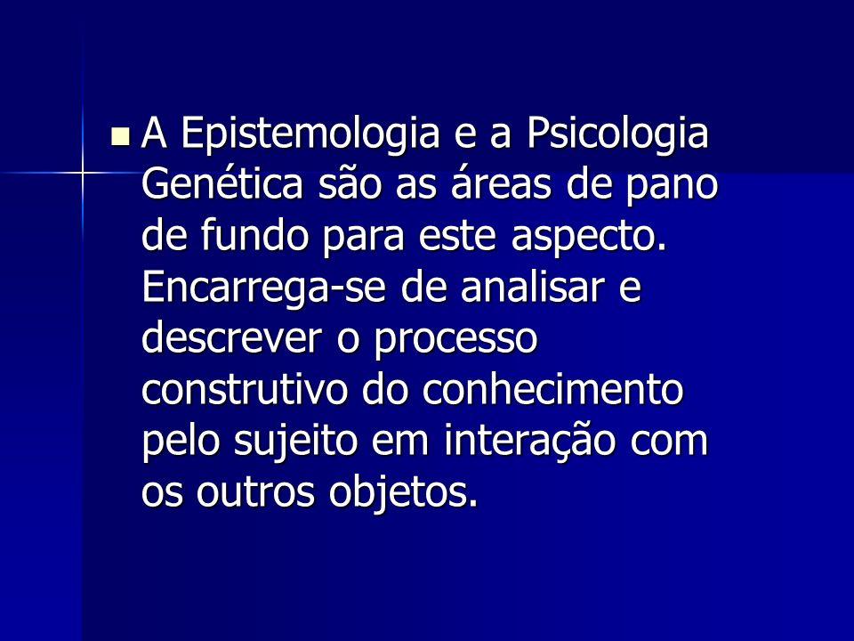 A Epistemologia e a Psicologia Genética são as áreas de pano de fundo para este aspecto. Encarrega-se de analisar e descrever o processo construtivo d