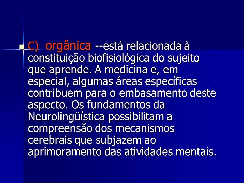 C) orgânica --está relacionada à constituição biofisiológica do sujeito que aprende. A medicina e, em especial, algumas áreas específicas contribuem p