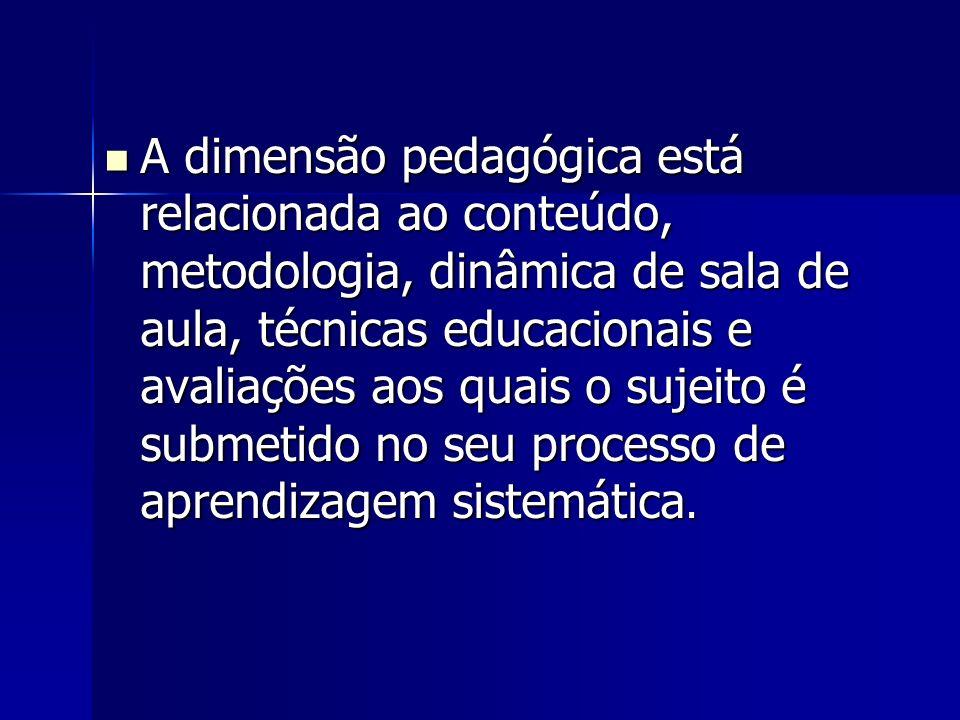A dimensão pedagógica está relacionada ao conteúdo, metodologia, dinâmica de sala de aula, técnicas educacionais e avaliações aos quais o sujeito é su