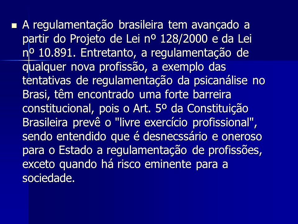 A regulamentação brasileira tem avançado a partir do Projeto de Lei nº 128/2000 e da Lei nº 10.891.