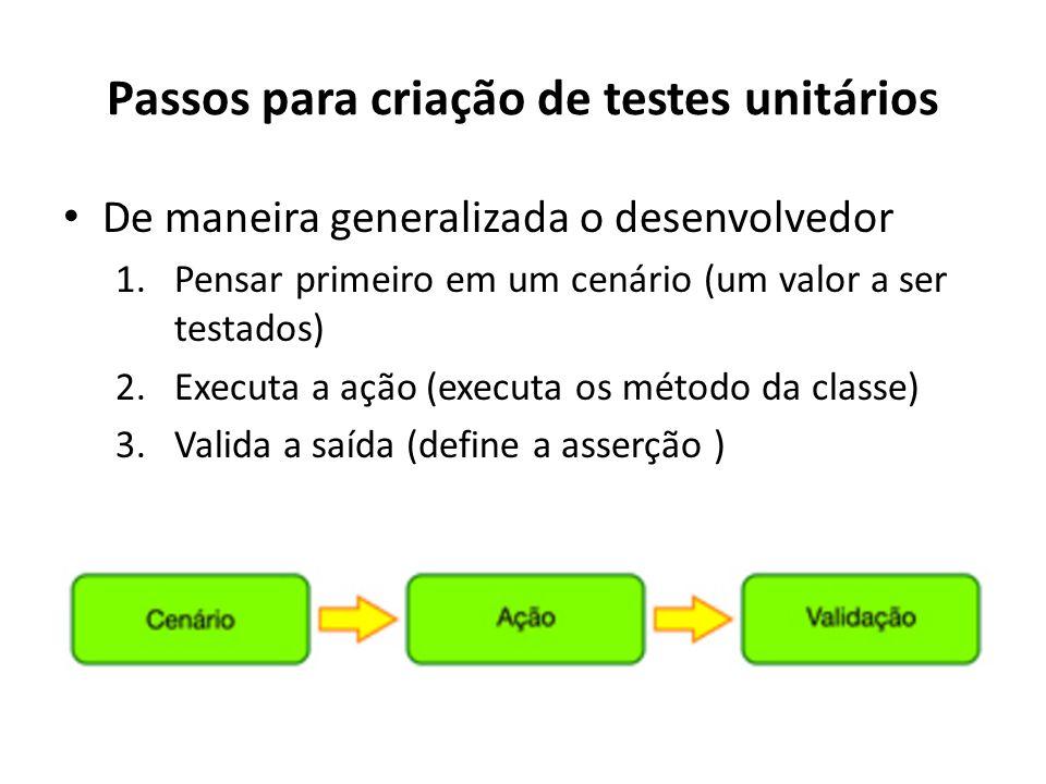 Passos para criação de testes unitários De maneira generalizada o desenvolvedor 1.Pensar primeiro em um cenário (um valor a ser testados) 2.Executa a ação (executa os método da classe) 3.Valida a saída (define a asserção )
