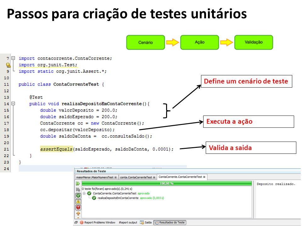 Define um cenário de teste Executa a ação Passos para criação de testes unitários Valida a saida
