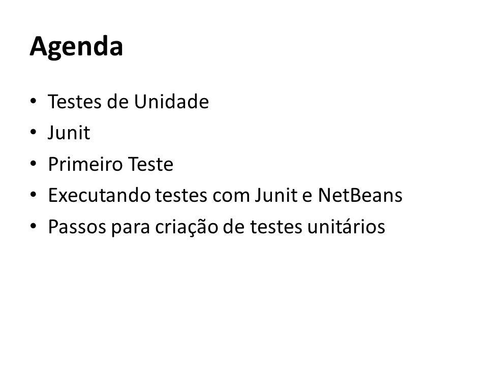 Agenda Testes de Unidade Junit Primeiro Teste Executando testes com Junit e NetBeans Passos para criação de testes unitários