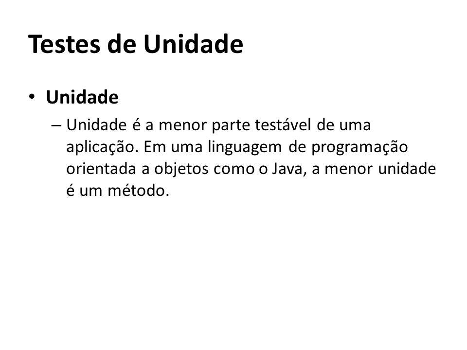 Testes de Unidade Unidade – Unidade é a menor parte testável de uma aplicação.