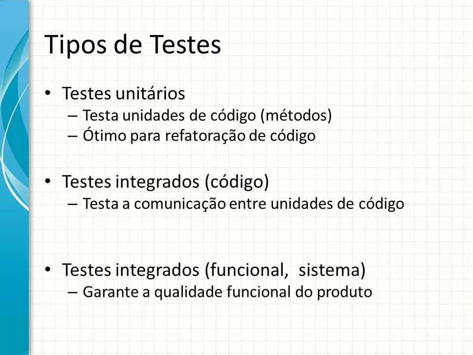 Tipos de Testes Testes unitários – Testa unidades de código (métodos) – Ótimo para refatoração de código Testes integrados (código) – Testa a comunicação entre unidades de código Testes integrados (funcional, sistema) – Garante a qualidade funcional do produto