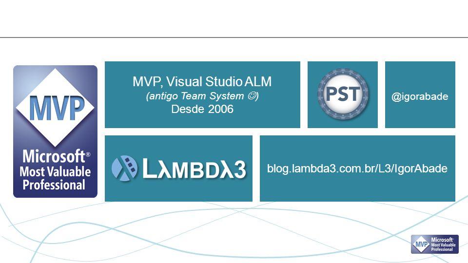 MVP, Visual Studio ALM (antigo Team System ) Desde 2006 blog.lambda3.com.br/L3/IgorAbade @igorabade